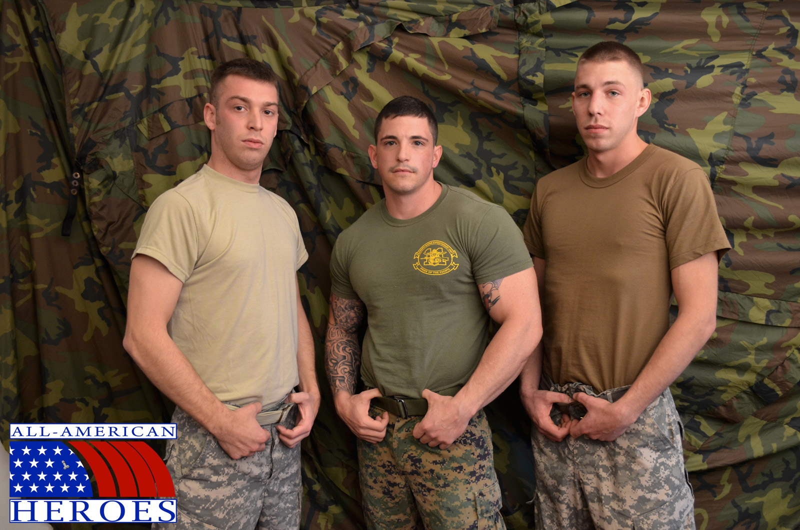 All American Heroes Sergeant Slate Triple fucking big cocks Army guys Amateur Gay Porn 01 Two Real Army Privates Fuck Their Muscle Sergeant and Cum In His Mouth