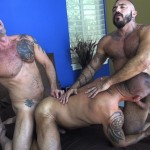 Raw Fuck Club Alessio Romero and Jon Galt and Vic Rocco Hairy Muscle Daddy Bareback Amateur Gay Porn 3 150x150 Hairy Muscle Daddy Threeway Double Bareback Penetration