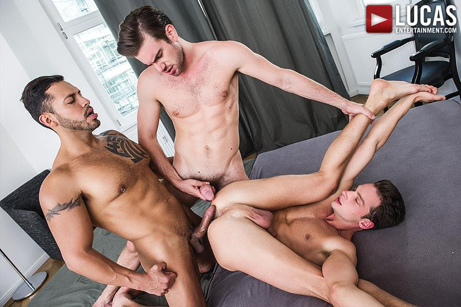 Lucas Entertainment Zander Craze and Damon Heart and Viktor Rom Big Uncut Cock Bareback Threesome Amateur Gay Porn 03 Two Big Uncut Cock Tops Sharing A Bottoms Hungry Hole
