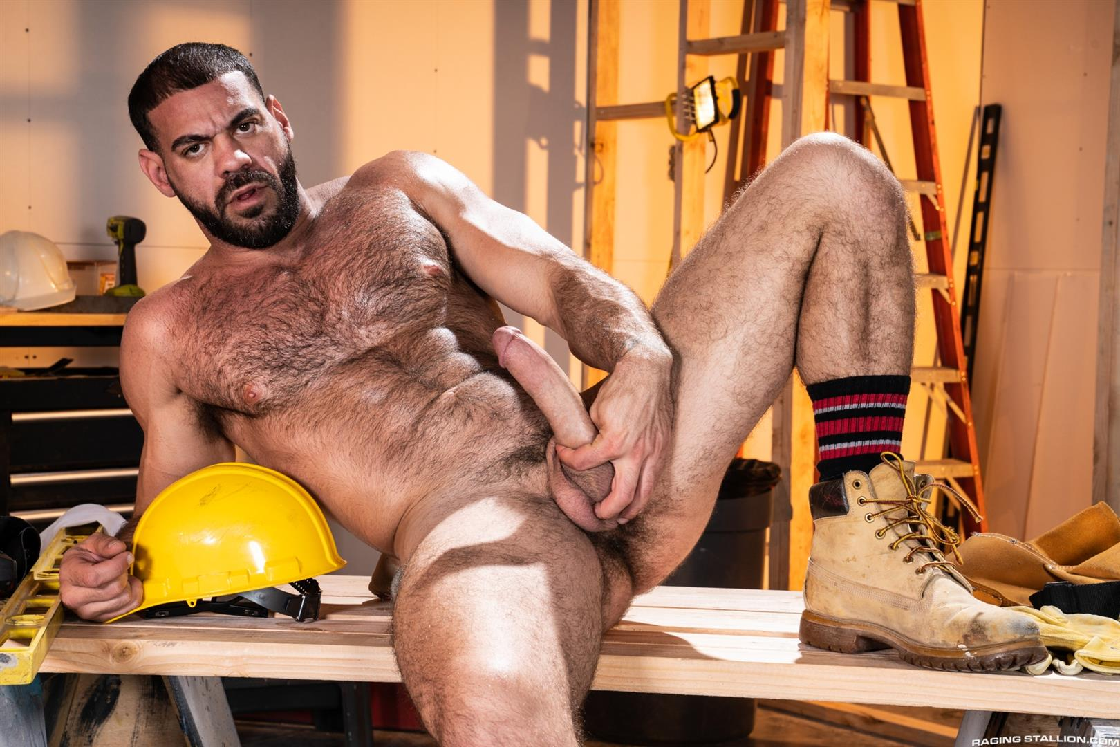 Raging-Stallion-Ricky-Larkin-and-Kurtis-Wolfe-and-Jaxx-Thanatos-Hairy-Muscle-Bareback-02 Hairy Muscle Hunks Ricky Larkin, Kurtis Wolfe and Jaxx Thanatos Bareback Fucking On The Job Site