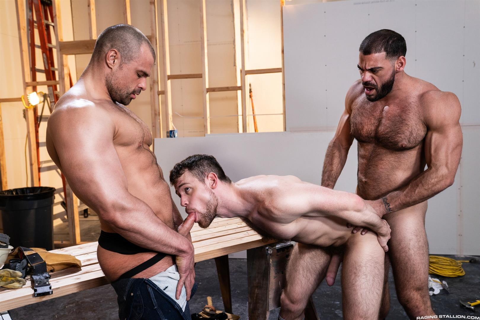 Raging-Stallion-Ricky-Larkin-and-Kurtis-Wolfe-and-Jaxx-Thanatos-Hairy-Muscle-Bareback-09 Hairy Muscle Hunks Ricky Larkin, Kurtis Wolfe and Jaxx Thanatos Bareback Fucking On The Job Site