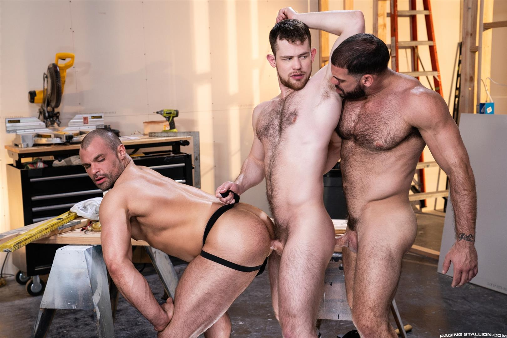 Raging-Stallion-Ricky-Larkin-and-Kurtis-Wolfe-and-Jaxx-Thanatos-Hairy-Muscle-Bareback-11 Hairy Muscle Hunks Ricky Larkin, Kurtis Wolfe and Jaxx Thanatos Bareback Fucking On The Job Site